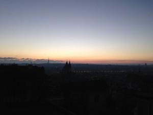 プラハ早朝ラン王宮の丘からの景色