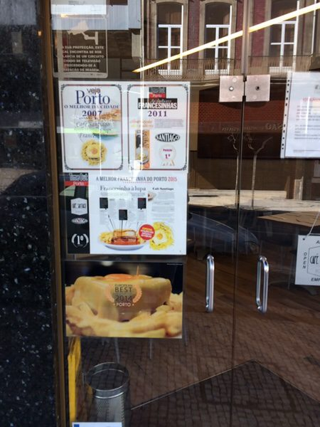 ポルト名物フランセジーニャ@Café Santiagoお店の入り口