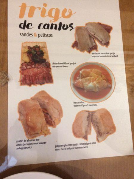 Trigo de Cantosのメニュー