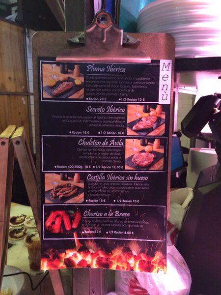 Mercado San Ildefonsoおすすめステーキ屋さんのメニュー