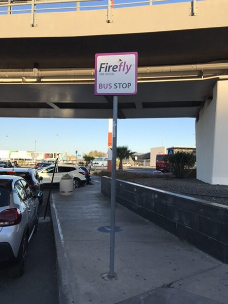 transfer bus stop sign for FireFly at Catania airport