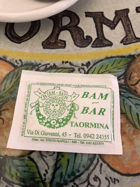 Bam Bar taorminaかわいい砂糖の袋