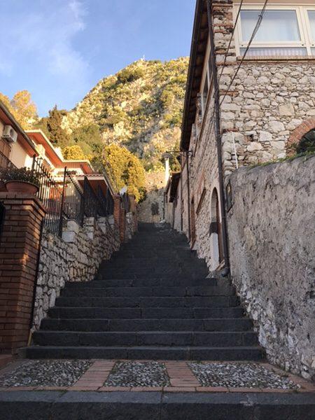 taormina-morning-run stairway to Santuario Madonna della Rocca