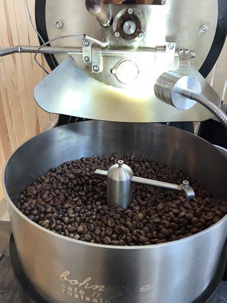 Bohnerie café röstsalon@frankfurtロースト中の豆