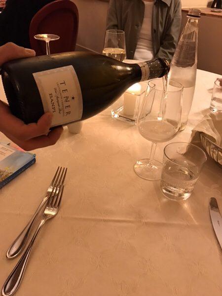 dinner hotel garden vulcano tener sparkling wine