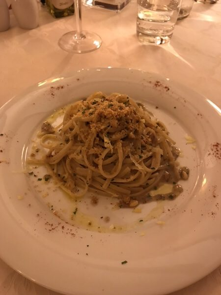 dinner hotel garden vulcano Linguine with Anchovies