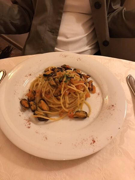 dinner hotel garden vulcano Spaghetti with Mussels